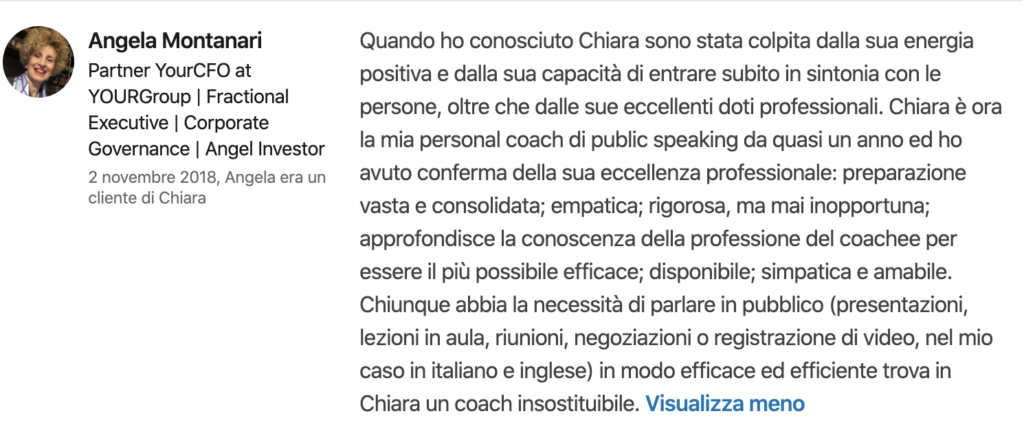 Chiara Alzati Consulenze Private di Public Speaking